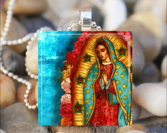 VIRGIN OF GUADALUPE Our Lady of Guadalupe Virgin Mary Catholic Religious Glass Tile Pendant Necklace Keyring