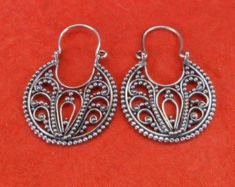 Awesome Bali Handmade Silver sterling hoop Earrings , Gift for her , silver work earrings, silver earrings, hoop earrings, Jewelry Gift
