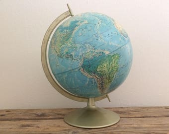 Mid Century 12 in. Blue Table Rand McNally Raised Relief Globe