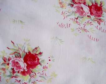 Pretty Vintage Fabric, French fabric, French Vintage Textile, French Florals, Red Rose Fabric, 1950s Fabric, Vintage Rose, Rose Print Fabric