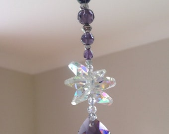 Hanging purple crystal glass heart sun catcher beaded sun catcher hanging crystals window decoration crystal accessory home decor