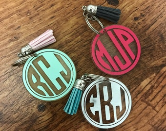 Monogram Keychains with Tassel