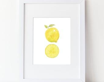 Lemon Art Print - Watercolor Lemon With Caption Art Print - Simple Watercolor Art - Various Sizes - Lemon Slice
