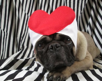 Queen of Hearts Hat: Alice in Wonderland, Red Heart, Halloween Costume, Valentines Day, Pug Costume, I <3 You, Pug Hat, Pug Dog, Love