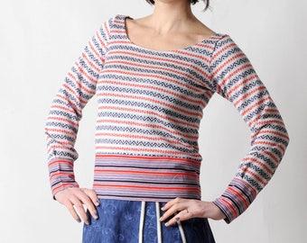 Red striped sweater, Womens sweater, White blue red sweatshirt, Fall fashion, vintage knit sweater, MALAM, size UK10