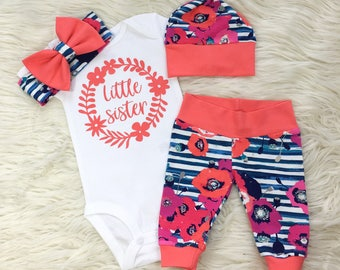 little sister set, baby girl coming home outfit, newborn girl coming home outfit, baby girl hospital outfit, new baby gift, baby shower gift