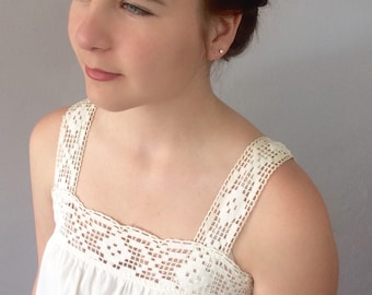 Handmade Bobbin Lace Trimmed Nightgown