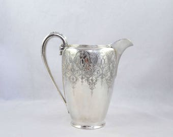 International Silver, Silver Plate Pitcher In The Paisley Pattern, Signed And Numbered Silver Water Pitcher