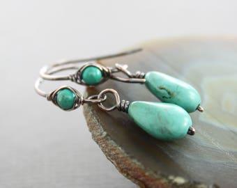 Turquoise copper drop earrings with beaded hook style earwires - Copper earrings - Turquoise earrings - Dangle earrings - ER118