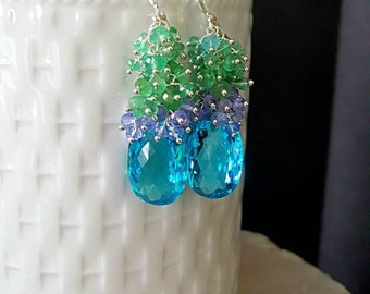 Sale Swiss Blue Topaz with Columbian Emeralds and Tanzanite Gemstone Cluster Earrings on Sterling Silver Gift For Her