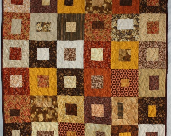 Featured listing image: Fall Lap Quilt, Modern Lap Quilt, Brown Quilt, Brown Lap Quilt, Geometric Quilt, Q020 Brown Boxes Lap Quilt