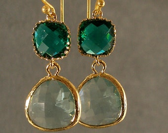 Teal Green and Prasiolite Glass Gold Bridesmaid Earrings, Wedding Earrings, Bridesmaid Jewelry