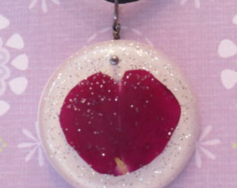 Pressed Rose Petal with Sparkles Resin Necklace