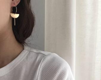 Delicate hoop earrings - half moon bar dangle earrings - everyday simple minimal earrings