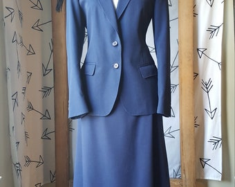 Navy blue 1960s style skirt suit