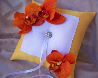 Sunshine Yellow White Orange Orchids Ring Bearer Pillow Rhinestone Wedding