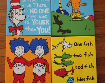 Dr Seuss inspired 11 X 14 wall Canvas (choose one at checkout)