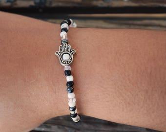 Minimalist bracelet - delicate hamsa charm bracelet, hand of fatima, hamsa hand, tiny hamsa charm, simple bracelet, boho bracelet