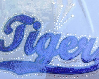 CLOSEOUT SALE Tigers (Blue) Sequins and Rhinestone Transfer Applique ONLY