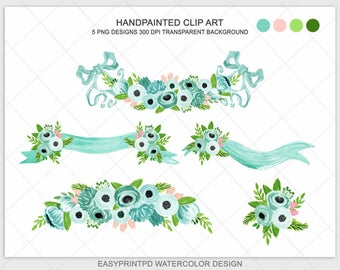 Handpainted Watercolor Emerald Green Wedding Flower Clipart Turquoise Blue Moss Shabby Rose Digital Spring Floral