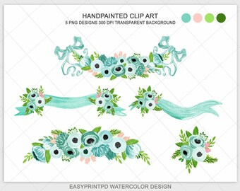 Handpainted Watercolor Emerald Green Wedding Flower Clipart Turquoise Blue Moss Shabby Rose Digital Spring Floral Bow Boho Rustic Clip Art