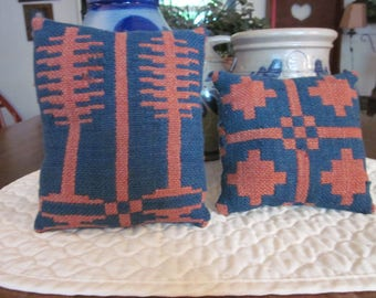 Primitive Pair Of Antique Coverlet Pillows In Navy & Red