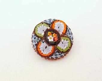 Vintage Micro Mosaic Italian Pin