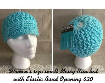 Womens small messy bun hat with visor