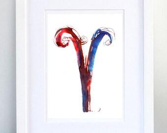 Print, Art Print, Wall Decor, Wall Art, Illustration Print, Blue Red Ink Drawing, Letter V, print 8x11.5 inch (21x29.5 cm)