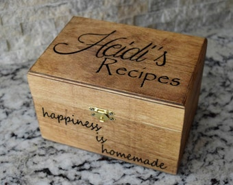 Brown Recipe Box Etsy
