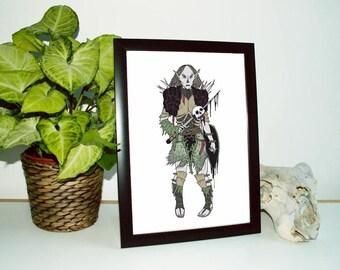 Female Orc A4 Fine Art Print. Horror. Orc. Skull. Dark Fantasy. Limited Edition