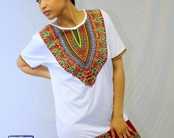 Mixed Dashiki Print Dress