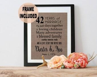 42nd Anniversary Gift - 42nd Wedding Anniversary Gift - 42 Years of Marriage - 42nd Anniversary Gift for Parents - Parents Anniversary Gift