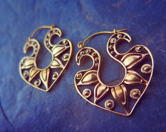 Hidden Treasure Brass Earrings