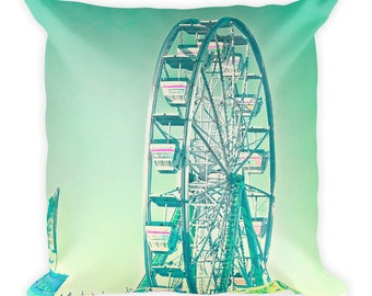 Whimsical Carnival Ferris Wheel Square Throw Pillow