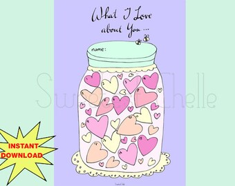 Cute Printable A5 Page - Printable Jar of Hearts - What I love about You - Love List - Valentine's Day - VDay List - Memory Jar - Thoughtful