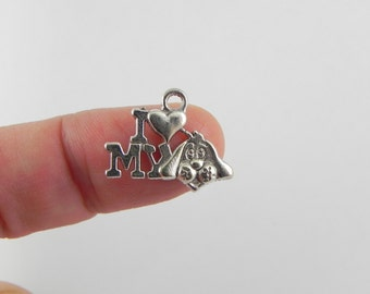 20 I Love My Dog Charms in Antiqued Silver - 14mm x 18mm