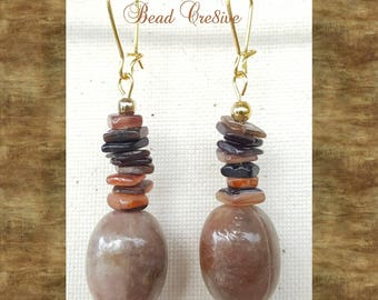 Brown medley dangles earrings