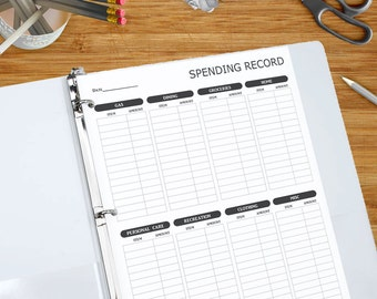Spending Record - Printable Spending Tracker - Expense Log, Spending Tracker, Money Management Printable Black and White  8.5 x 11 inches
