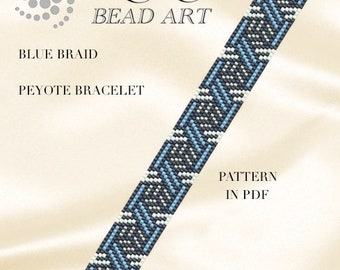 Peyote pattern for bracelet - Blue braid - Geometric peyote bracelet pattern in PDF - instant download