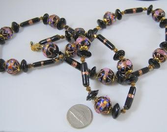 "Venetian Wedding Cake Glass Bead Necklace Black Glass Pink Roses Gold Aventurine 30"" Long"