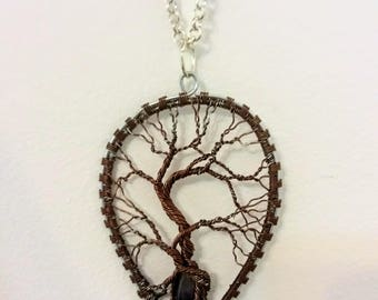 Wire copper necklace with amethyst, Wire Tree of Life Bonsai Pendant, Twisted  Jewelry, wire wrapped pendant