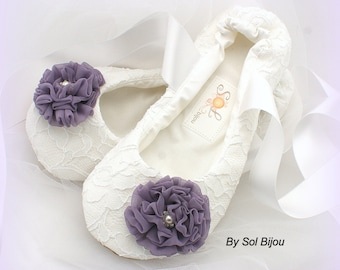Lace Wedding Flats in White and Vintage Lilac, Custom Ballet Flats