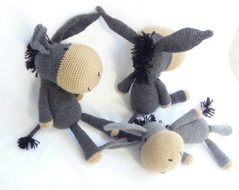 Handmade amigurumi donkey, an excellent stuffed animal toy for children. He is a proud member of the farm family toy collection.
