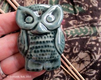 Owl Ceramic Incense Stick Holder Teal Green 56mm