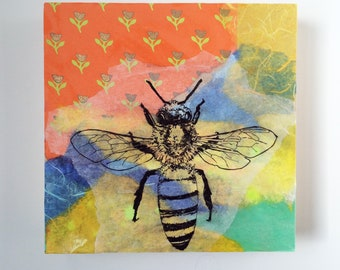 Honey Bee Original Painting Mixed Media Collage 8x8 in. Abstract Painting Wall Art Honey Bee Wall Decor Wall Art Ready to Hang
