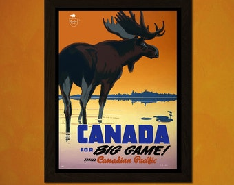 Canada Travel Print - Vintage Travel Poster Canada Poster Travel Canadian Print Canadian Pacific Poster Deer Print   Reproduction