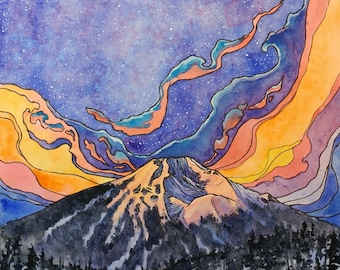 Mt Bachelor,Art Print, mountain art,sunrise,landscape art,pen and ink,Bend,Portland,Oregon,outdoors,mountains,nature,abstract