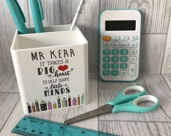 Personalised stationary pen pot with stationary perfect for teacher end of term gifts - best teacher - big heart to help shape little minds
