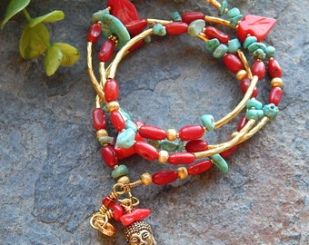Turquoise and red bracelet - southwestern style convertible necklace or bracelet - carved red coral leaves and turquoise nuggets - boho chic